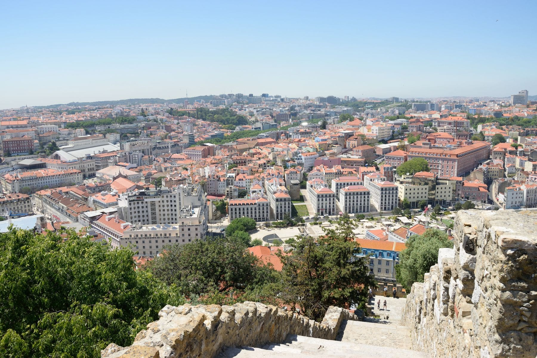 Veduta dal castello a Lisbona