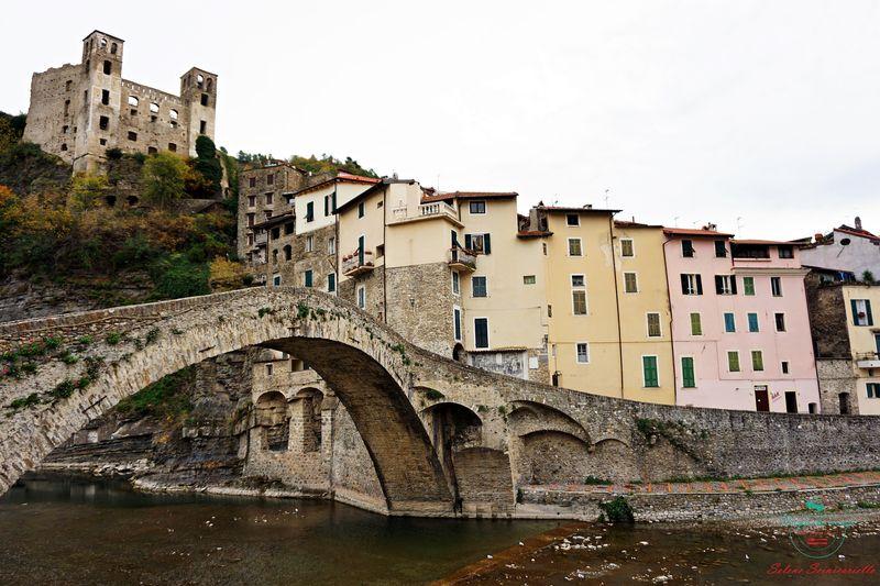 Scorcio sul ponte e sul borgo di Dolceacqua