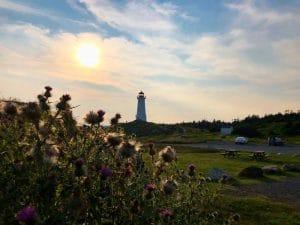 Il faro di Louisbourg al tramonto