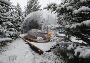 Dormire in un bolla sotto la neve