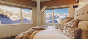 La camera da letto dello Sheldon Chalet