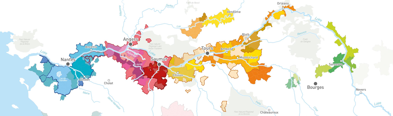 Mappa delle regioni vinicole della Loira
