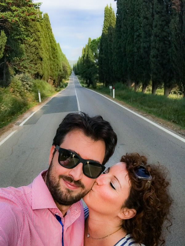 Selfie sul viale di Bolgheri