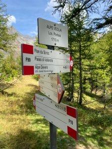 Le indicazioni all'ingresso del parco